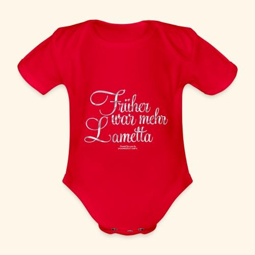 T-Shirt Früher war mehr Lametta Silber - Baby Bio-Kurzarm-Body