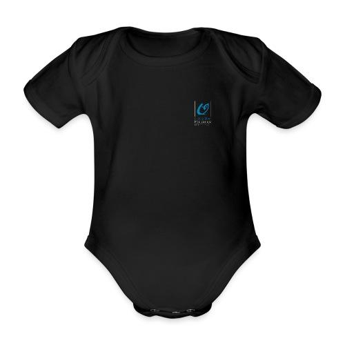 Little Owl Pictures Logo (weiß/blau) - Baby Bio-Kurzarm-Body