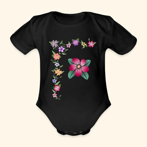 Blumenranke, Blumen, Blüten, floral, blumig, bunt - Baby Bio-Kurzarm-Body