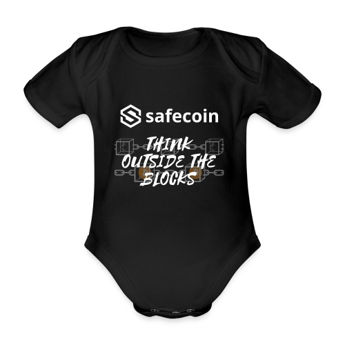 Safecoin Think Outside the Blocks (white) - Organic Short-sleeved Baby Bodysuit