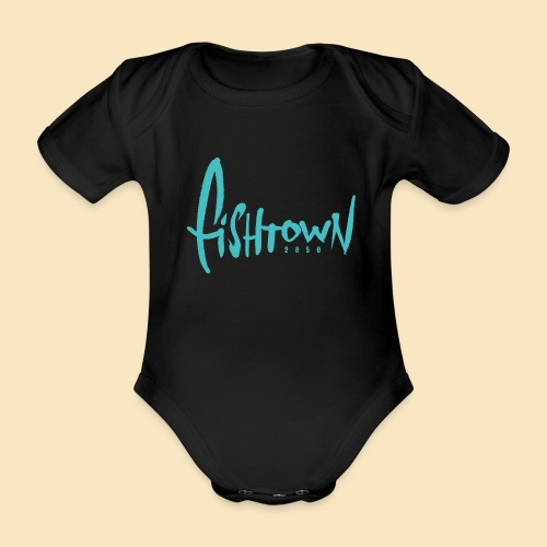 Fishtown 2850 handdrawn brightblue - Baby Bio-Kurzarm-Body