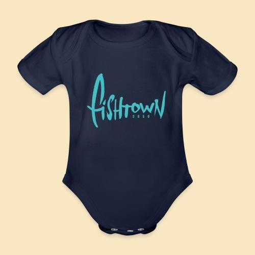 Fishtown 2850 handdrawn brightblue - Baby Bio-Kurzarm-Body