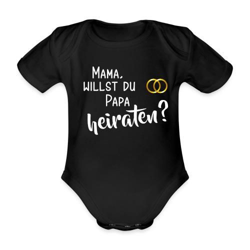 Mama Papa heiraten Baby Body Antrag Hochzeit Ringe - Baby Bio-Kurzarm-Body
