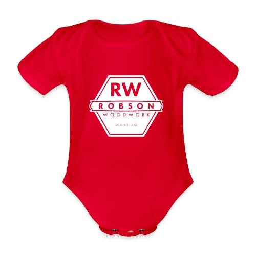 RW Logo In White - Organic Short-sleeved Baby Bodysuit
