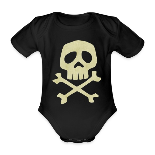 Danzig Style Captain Harlock Skull Crossbones / Jo - Organic Short-sleeved Baby Bodysuit
