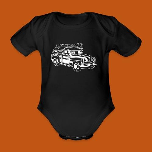 Chevy Cadilac Woodie / Oldtimer Kombi 01_weiß - Baby Bio-Kurzarm-Body