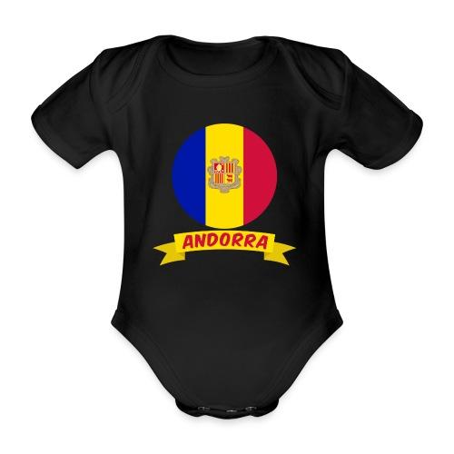 flag of andorra t shirt design banner ribbon - Body ecologico per neonato a manica corta