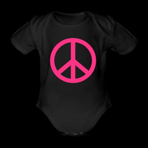 Gay pride peace symbool in roze kleur - Baby bio-rompertje met korte mouwen