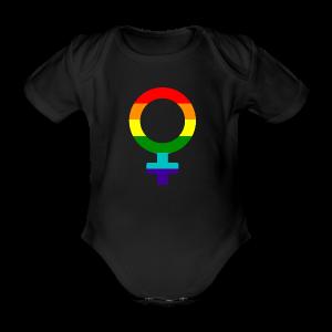 Gay pride regenboog vrouwen symbool - Baby bio-rompertje met korte mouwen