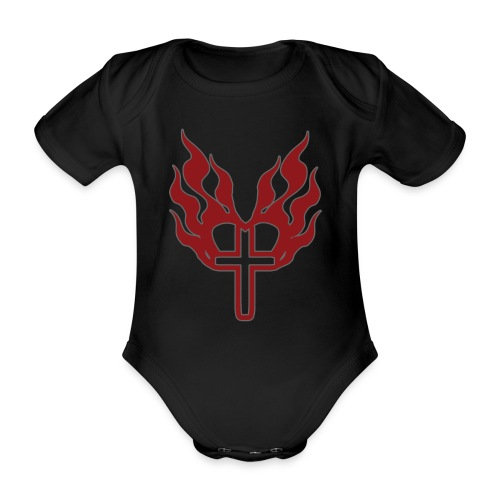 Cross and flaming hearts 02 - Organic Short-sleeved Baby Bodysuit
