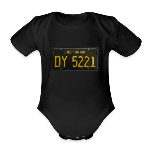 CALIFORNIA BLACK LICENCE PLATE - Organic Short-sleeved Baby Bodysuit