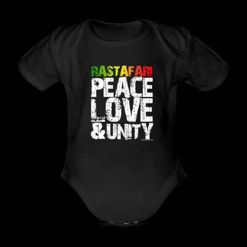 RASTAFARI - PEACE LOVE & UNITY - Baby Bio-Kurzarm-Body