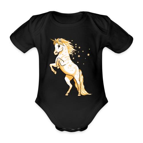 Pünktchen Einhorn Gold - Baby Bio-Kurzarm-Body