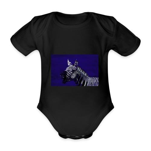 blue zebra - Organic Short-sleeved Baby Bodysuit