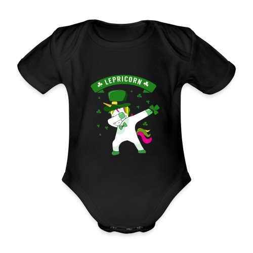 Lepricorn - St. patricks Day Unicorn dab pose - Baby Bio-Kurzarm-Body