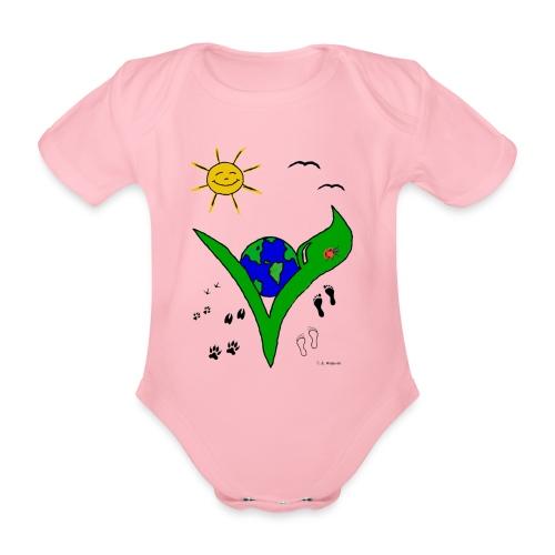 Ein Logo geht um die Welt - Baby Bio-Kurzarm-Body
