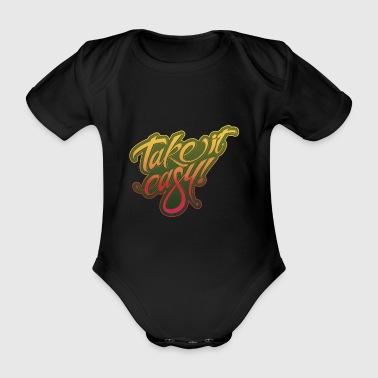 Take it easy yellow-red - Organic Short-sleeved Baby Bodysuit