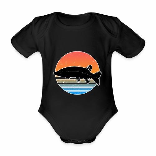 Retro Hecht Angeln Fisch Wurm Raubfisch Shirt - Baby Bio-Kurzarm-Body