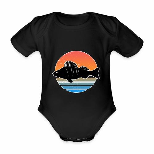 Retro Barsch Angeln Fisch Wurm Raubfisch Shirt - Baby Bio-Kurzarm-Body