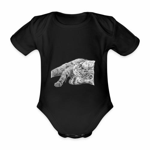 Small kitten in gray pencil - Organic Short-sleeved Baby Bodysuit