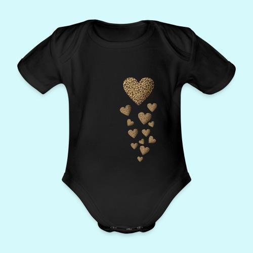 Leopardenmuster Herzen - Raubkatze - Baby Bio-Kurzarm-Body