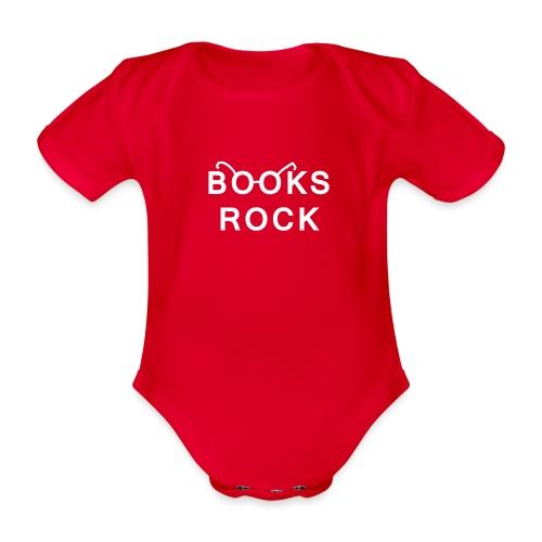 Books Rock White - Organic Short-sleeved Baby Bodysuit