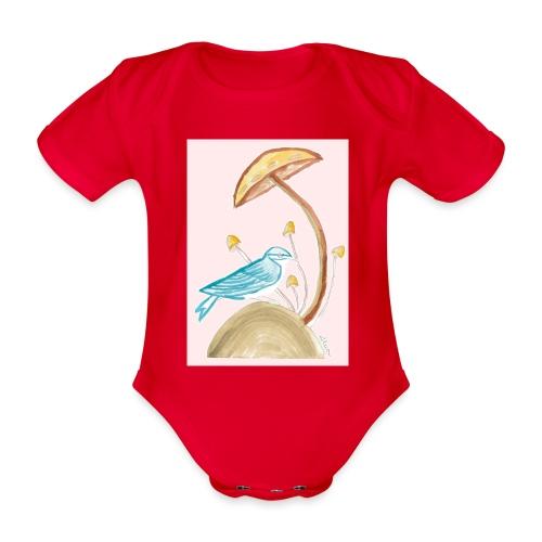 fungo con uccello - Body ecologico per neonato a manica corta