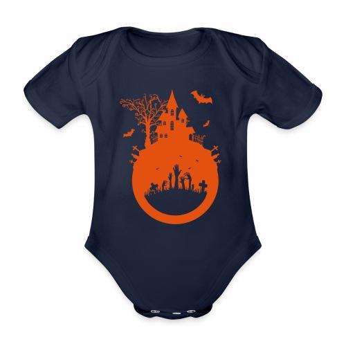 Halloween Design - Das Spukhaus - Baby Bio-Kurzarm-Body