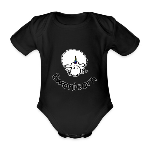 Ewenicorn (black edition black text) - Organic Short-sleeved Baby Bodysuit