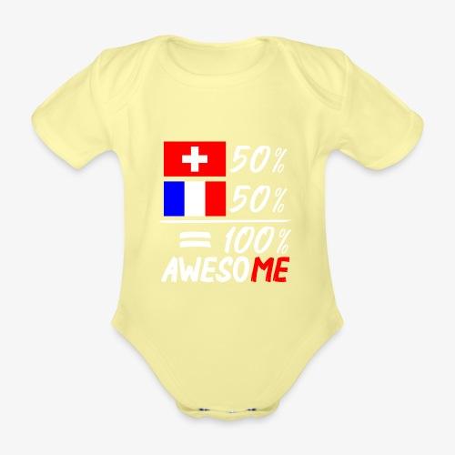 50% Schweiz 50% Frankreich - Baby Bio-Kurzarm-Body