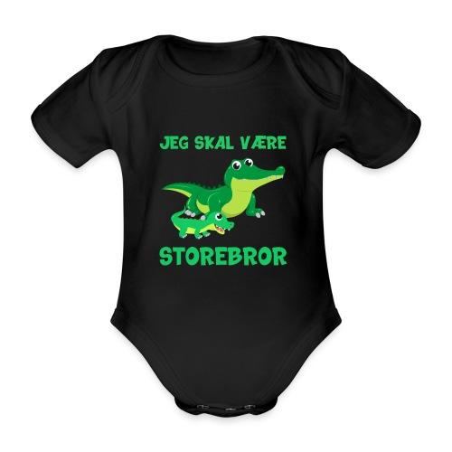 Jeg skal være storebror krokodille gave fødsel - Kortærmet babybody, økologisk bomuld