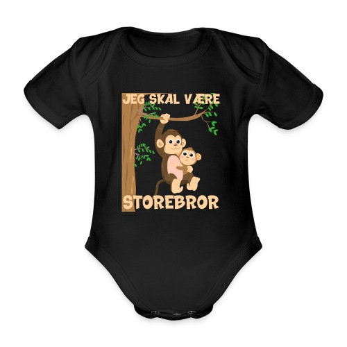 Jeg skal være storebror abe aber gave fødsel - Kortærmet babybody, økologisk bomuld