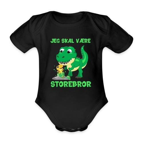 Jeg skal være storebror dinosaur gave dino - Kortærmet babybody, økologisk bomuld