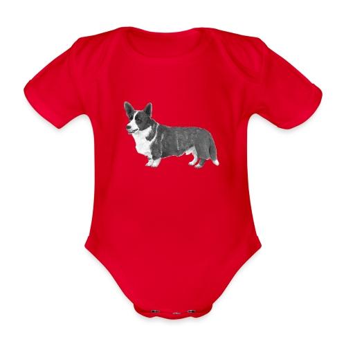 welsh Corgi Cardigan - Kortærmet babybody, økologisk bomuld