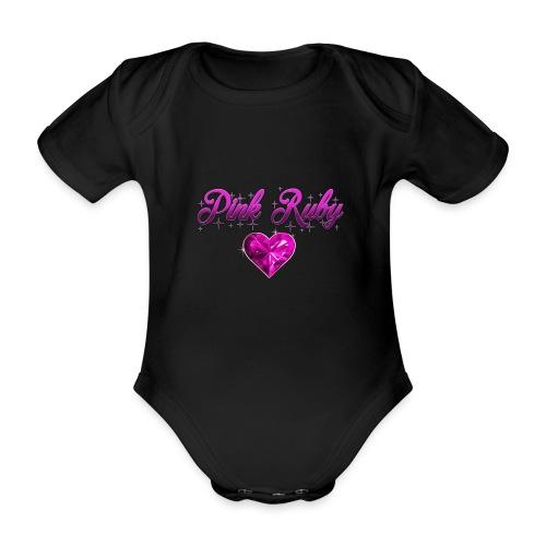 Pink Ruby heart - Ekologisk kortärmad babybody