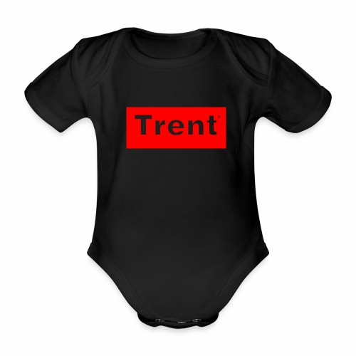 TRENT classic red block - Organic Short-sleeved Baby Bodysuit
