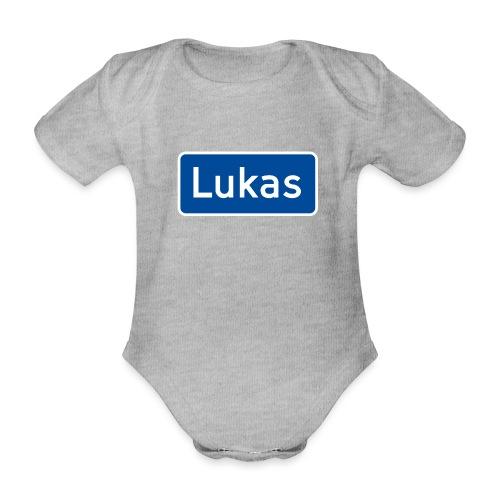 Lukas veiskilt (fra Det norske plagg) - Økologisk kortermet baby-body