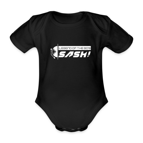 DJ SASH! Turntable Logo - Organic Short-sleeved Baby Bodysuit