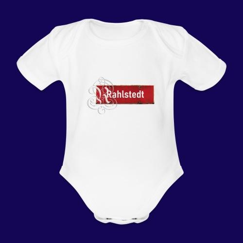 (Hamburg-) Rahlstedt Ortsschild + pompöses Initial - Baby Bio-Kurzarm-Body