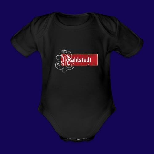 (Hamburg-) Rahlstedt Ortsschild + pompösem Initial - Baby Bio-Kurzarm-Body