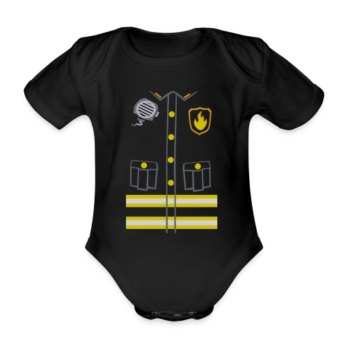 Kids Fireman Costume - Dark edition - Organic Short-sleeved Baby Bodysuit