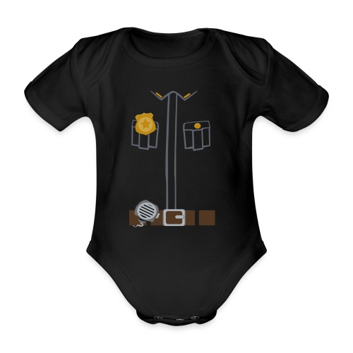 Police Costume Black - Organic Short-sleeved Baby Bodysuit
