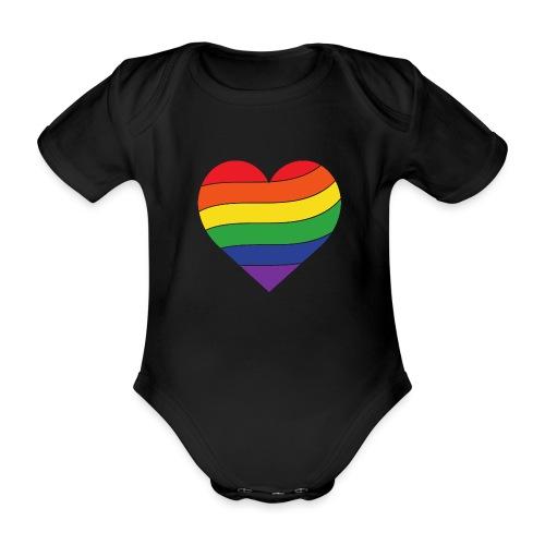 Regenbogen Herz | Pride - Baby Bio-Kurzarm-Body