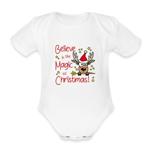 Renne, Magic of Christmas, Happy Christmas, Noël - Body Bébé bio manches courtes