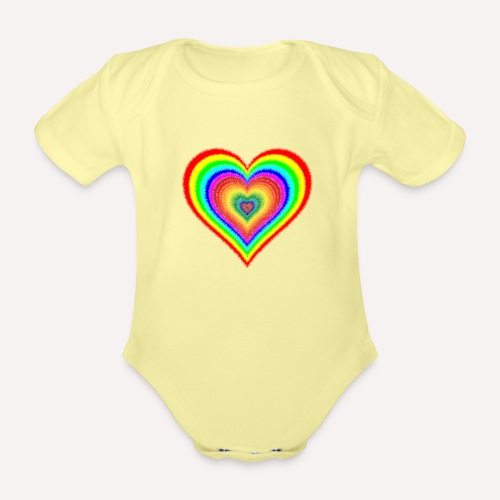 Heart In Hearts Print Design on T-shirt Apparel - Organic Short-sleeved Baby Bodysuit