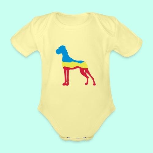 Flaggen Dogge - Baby Bio-Kurzarm-Body