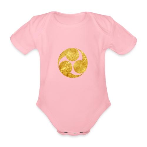 Kobayakawa Mon Japanese clan gold on black - Organic Short-sleeved Baby Bodysuit