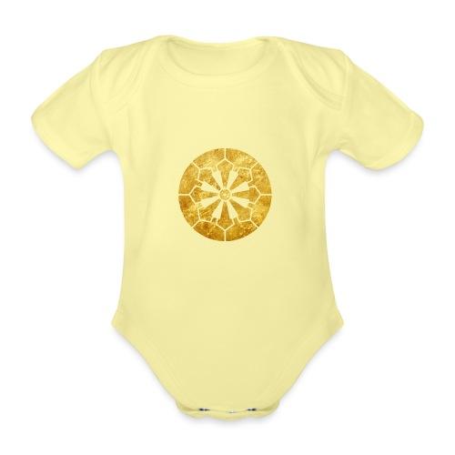 Sanja Matsuri Komagata mon gold - Organic Short-sleeved Baby Bodysuit