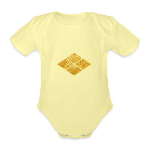 Takeda kamon Japanese samurai clan faux gold - Organic Short-sleeved Baby Bodysuit