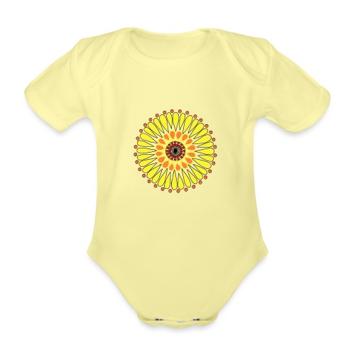 Yellow Sunflower Mandala - Organic Short-sleeved Baby Bodysuit